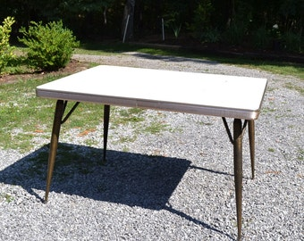Retro Formica Kitchen Table Aged Brass Metal Legs Beige Woodgrain Top  Chrome Apron Extendible Panchosporch