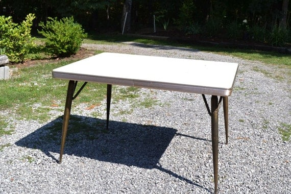 vintage metal top kitchen table retro formica kitchen table aged brass metal legs beige 8841