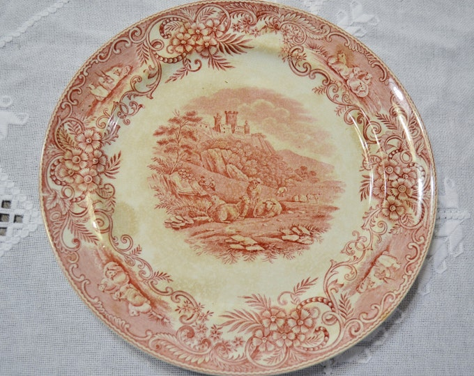 Vintage Red Transferware Dinner Plate Pastoral Sheep Castle England PanchosPorch