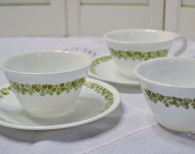 Vintage Corelle Spring Blossom Cup and Saucer Set of 2 Sugar Bowl Crazy Daisy Green White Corning PanchosPorch