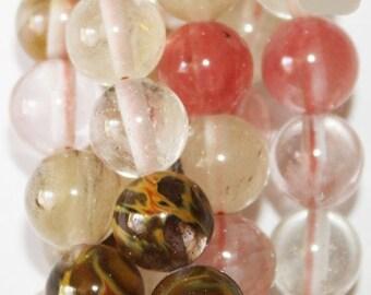 "Watermelon Quartz Beads - Round 8 mm Gemstone Beads - Full Strand 16"", 48 beads, A-Quality"