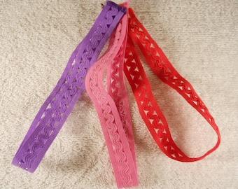 Nylon Cloth Headbands in 3 Colorful styles, 3 Pc Set
