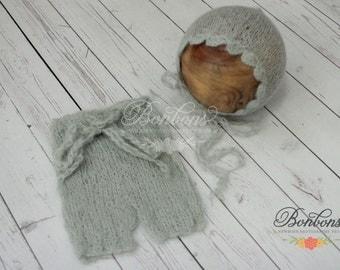Mohair Newborn Baby Bonnet Set, Photography Props, Photo Props, Baby hat, Boy hat, Infant Hat, Newborn Bonnet Set Light Sage Green