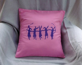 Baby girl cushion cover - Purple/ Pink, nursery decor - Dancing Bunnies