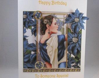 Handmade 3D  Elegant Lady Birthday Card,Personalise