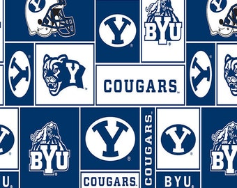 NCAA Brigham Young University BYU Cougars Block Edition Licensed Fleece Fabric