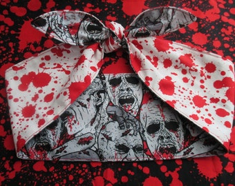 "Reversible WIDE 4"" Blood Splatter Stains WHITE Zombie pinup goth Head scarf Headband Pinup Psychobilly Rockabilly Horror Monsters Bloody Bow"
