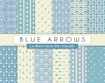 Blue Arrows digital paper Arrows patterns in blue. Digital  arrows Paper Pack Instant Download for Personal and Commercial Use