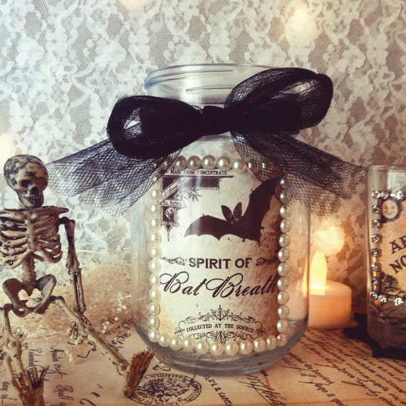 Items similar to mason jar halloween bat candle holder Vintage halloween decorations uk