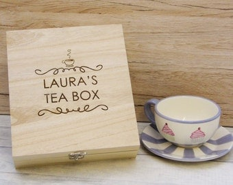 Personalised, Engraved Tea Storage Box - Perfect Custom Gift For Tea Lovers - Bespoke Tea Boxes, Engraved Tea Caddy, Tea Storage Box