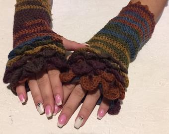 Sale crochet Fingerless Crocheted Gloves women fingerless gloves crochet women's gloves dragon scale women's Arm Warmers gift Accessory