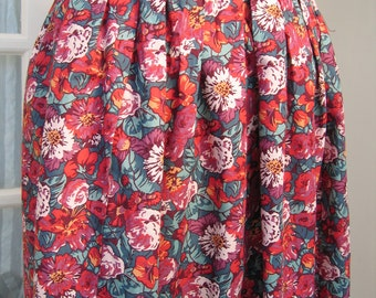 Liberty of London Cotton Skirt Size 10 - 12 1980s Red Floral