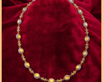 High Fashion necklace Choker,Silver and Gold,Nepali silver, Citrine, Balinese silver capped Topaz, Swarovski Czech crystal,women's necklace