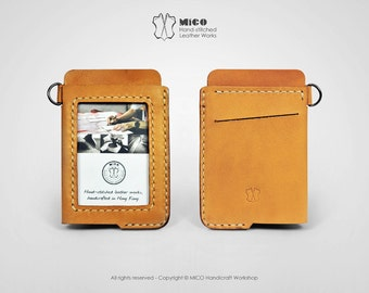 MICO leather Badge holder/ ID Pass holder/ Badge Lanyard (Oblique)