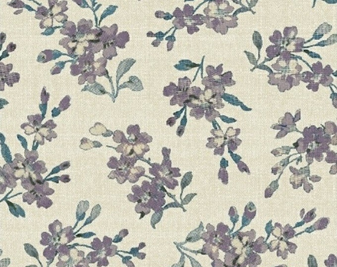 Half Yard Chambray Rose - Medium Floral in Cream - Cotton Quilt Fabric - Nancy Gere for Windham Fabrics - 40827-2 (W3433)