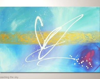 """Light blue fine art painting 35x24 inches:""""Reaching the sky"""" abstract canvas art,wall decoration also with white gold lilac,framed wall art"""