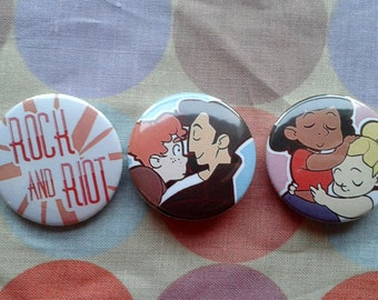 Rock and Riot Badges + Postcards