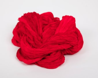 Red silk wrinkled scarf for women /  No iron Scarlet ruffled silk scarf   /  no iron red  wrinkled scarf /