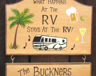 Custom What Happens at Camp  or RV Stays at Camp RV Motorhome  Campfire Personalized Signs Camping Beer Drink