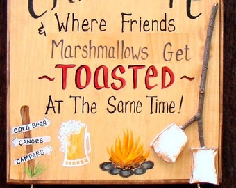 Personalized Welcome to our Camp Sign CampSite Fire  Beer Marshmallows Friends Get Toasted Personalized with Your Name