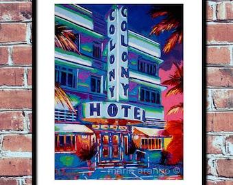 Colony Hotel, Art Deco Design, Miami Beach Art, South Beach Artwork, Landmark