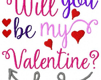 Embroidery Design: Will You Be My Valentine Instant Download Hearts Chickpea 4x4, 5x7