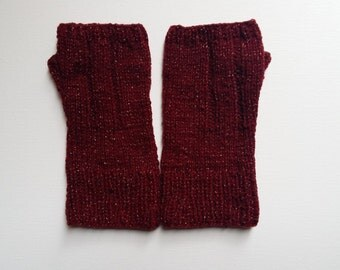 Hand knit fingerless gloves