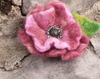 Hand Felted pink flower brooch with lava stone and glass beads