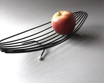 Fruit bowl String Mid Century Modern, fruit basket, shell dish metal black, vintage 50s 60s, gift men women husband wife her him
