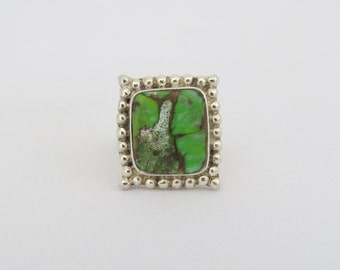 Vintage Artisan Sterling Silver Green Turquoise Ring Size 6