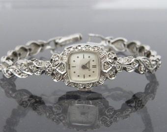 Vintage 14K Solid White Gold BENRUS SWISS Ladies Wrist Watch With Diamond 6 2/8''