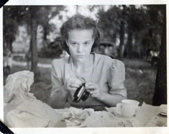 Vintage Photo..Betty and Her New Camera 1930's, Original Found Photo, Vernacular Photography, American Social History Photo