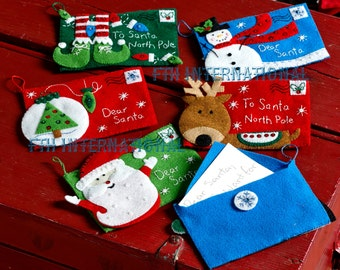 Bucilla Letters to Santa Envelopes ~ 6 Pce. Felt Christmas Ornament Kit #86667 DIY
