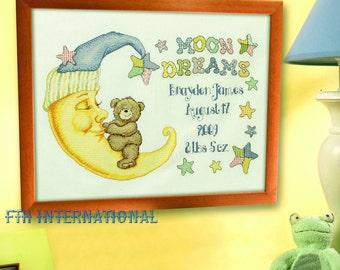 "Bucilla ""Moon Dreams"" Birth Record Cross Stitch Kit #45302 DIY"