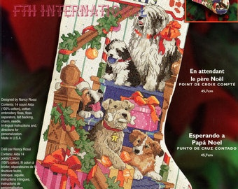 "Bucilla 18"" Waiting For Santa Counted Cross Stitch Stocking Kit #84791, Dogs DIY"