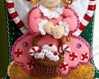 "Bucilla Cupcake Angel ~ 18"" Felt Christmas Stocking Kit #86207 Cookies, Candy DIY"