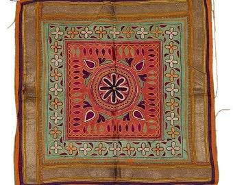 VINTAGE TEXTILE - Vintage Chakla with flower design on coral silk.