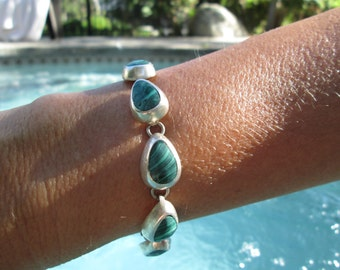 Malachite and Sterling Silver Link Bracelet