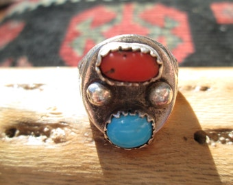 Native American Turquoise, Coral and Sterling Silver Ring Size 9.5