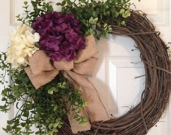 HYDRANGEAS WREATH, Burlap Wreath, Spring Wreath, Summer Wreath,Grapevine Wreath, Wreath,Hydrangea  Wreath,Front Door Wreath,Boxwood Wreath