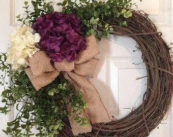 HYDRANGEAS WREATH, Burlap Wreath, Spring Wreath, Summer Wreath,Grapevine Wreath, Wreath,Hydrangea  Wreath,Front Door Wreath,Boxwood Wreath