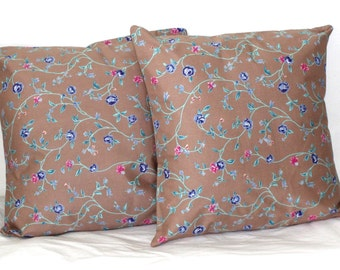 Set of (2) 18 inch Decorative Throw Pillow Covers Taupe with Colorful Floral Home Decor