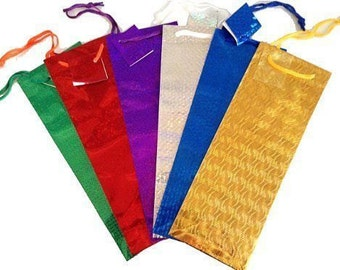 Set of 12 Holographic Wine Bottle Gift Bags Assorted Christmas Colors- FREE SHIP