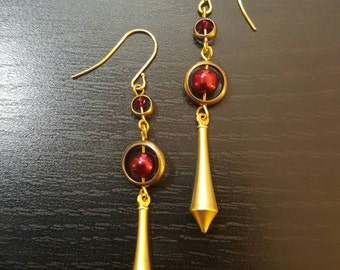 Earrings, Prometheus' Tears Pendulum with Red Pearls