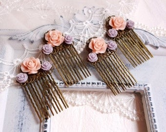 Blush pink lavender rose Antique inspired brass hair comb Flower girl Bridal Bridesmaid accessory