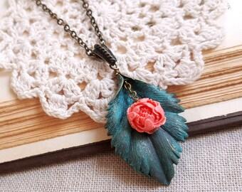 Boho necklace Verdigris leaf pendant Stone peony pendant Long necklace