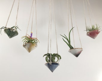 air plant hanging planter / air plant holder / mini cone
