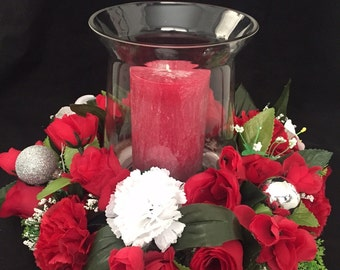 Christmas Wreath, Glassware and Candle complete set