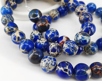 Full Strand 47pcs 8mm Smooth Round Blue Sediment Imperial Jasper Beads Emperor Jasper Beads