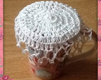 White Crochet Beaded Jug / Glass / Mug Cover